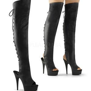 "Shoes - 6"" High Heel Lace-Up Platform Thigh High Boots"